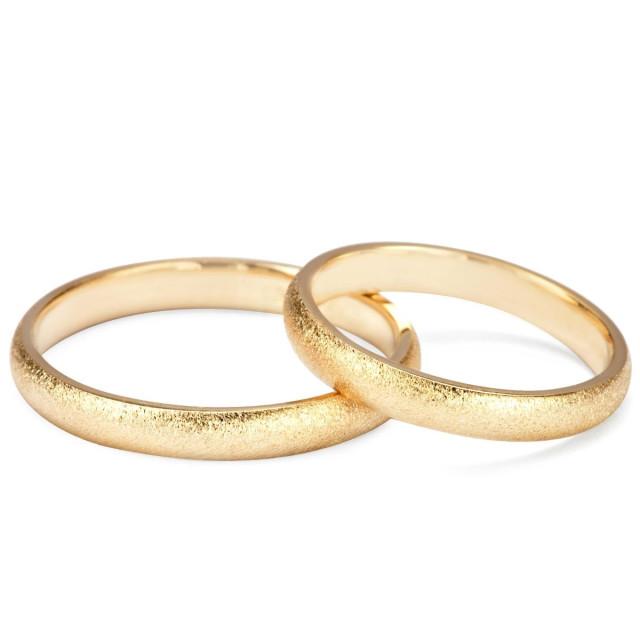 Zdjęcie Złote obrączki klasyczne, piaskowane (szerokość 3 mm)  #1