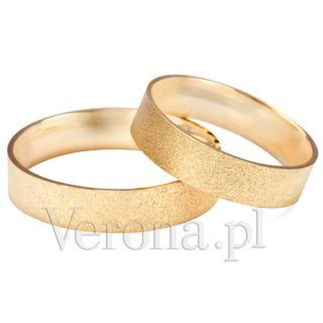 Zdjęcie Złote obrączki klasyczne, piaskowane (szerokość 5 mm)  #1