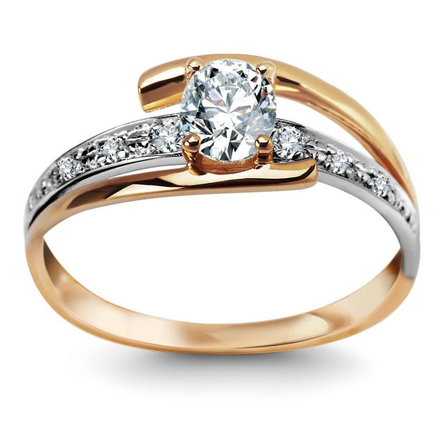 Zdjęcie Złoty pierścionek z diamentami i brylantami #1