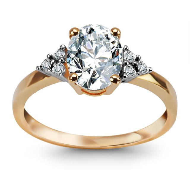 Zdjęcie Złoty pierścionek z diamentami i topazem #1