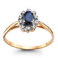 Zdjęcie Złoty pierścionek z diamentami i szafirem #2