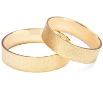 Zdjęcie Złote obrączki klasyczne, piaskowane (szerokość 6 mm) #40