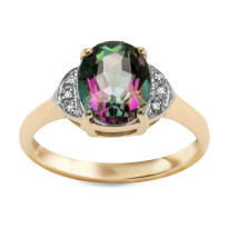 Zdjęcie Złoty pierścionek z diamentami i topazem #34