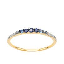 Zdjęcie Złoty pierścionek z diamentami i szafirami #19