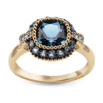 Zdjęcie Złoty pierścionek z diamentami i topazami #26