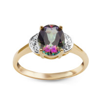 Złoty pierścionek z diamentami i topazem