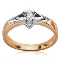 Zdjęcie Złoty pierścionek z diamentem #19