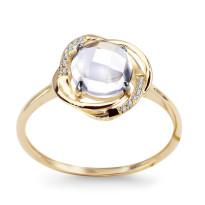 Zdjęcie Złoty pierścionek z topazem i diamentami #33